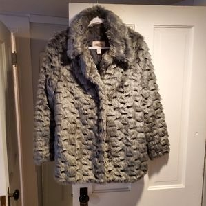 Gray Faux Fur trench coat